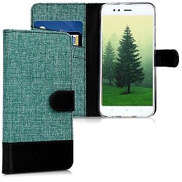 kwmobile Funda compatible con Xiaomi Mi 5X / Mi A1 - Carcasa de tela y cuero sintético tarjetero verde / negro