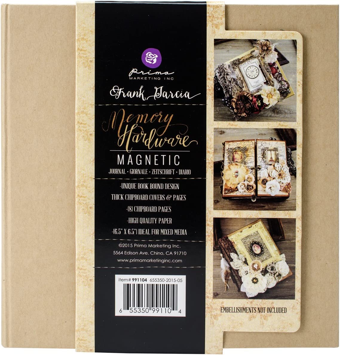 8 Pages Prima Marketing Memory Hardware Chipboard Journal 6.5X6.25-Gatefold