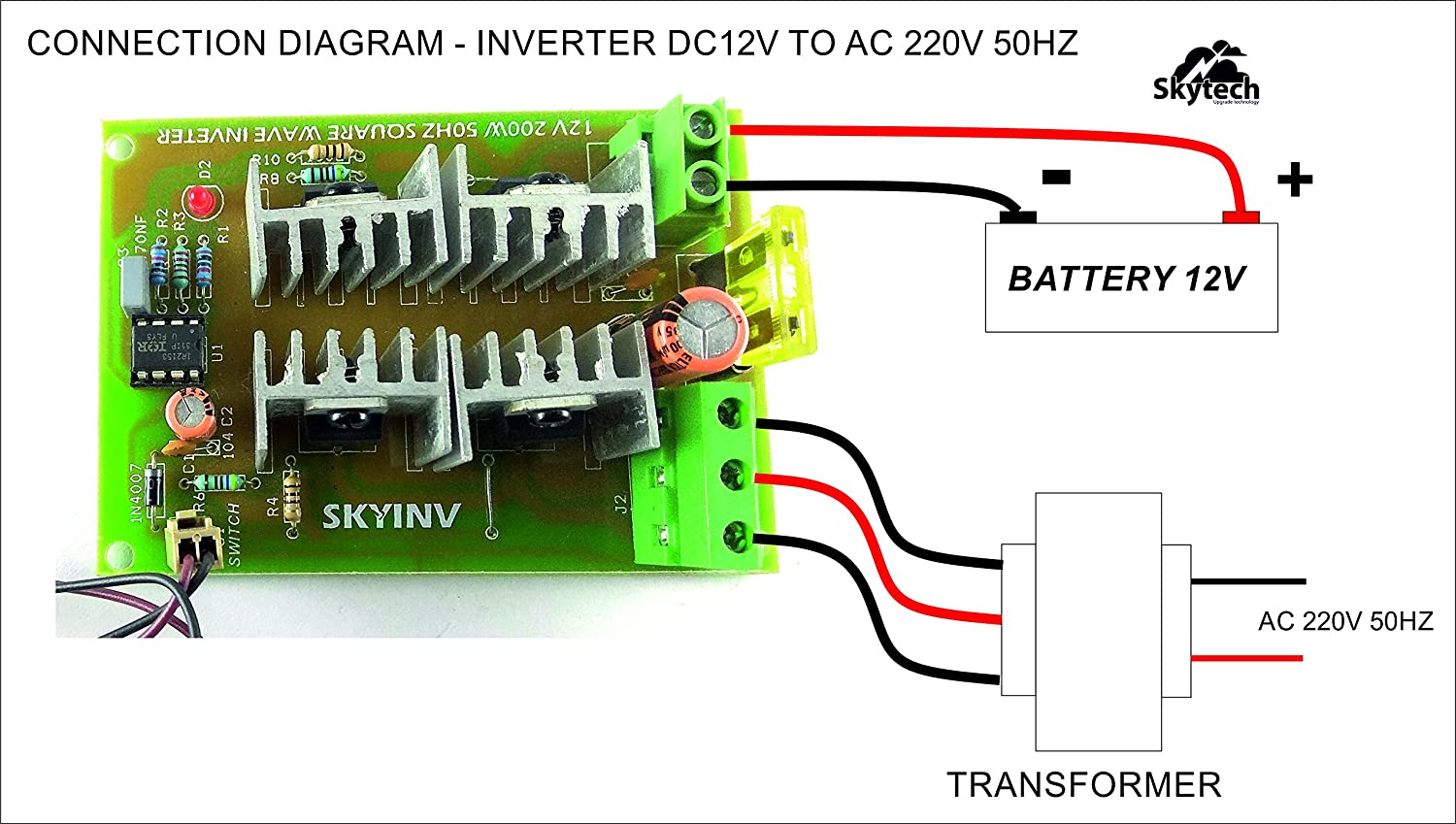 Skytech 12v To 220v Ac 200w Inverter Driver Board Power Module Drive Battery Wiring Diagram Core Transformer