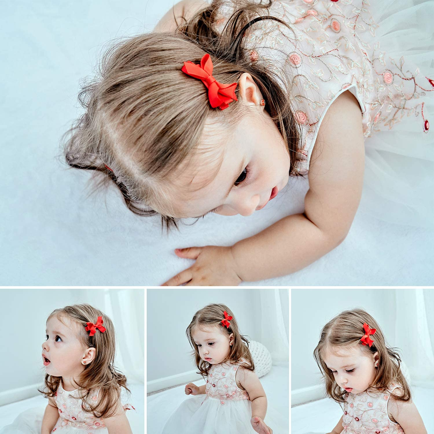 20pcs 1.6inch Tiny Hair Bows Fully Lined Hair Clips for Baby Fine Hair Infants