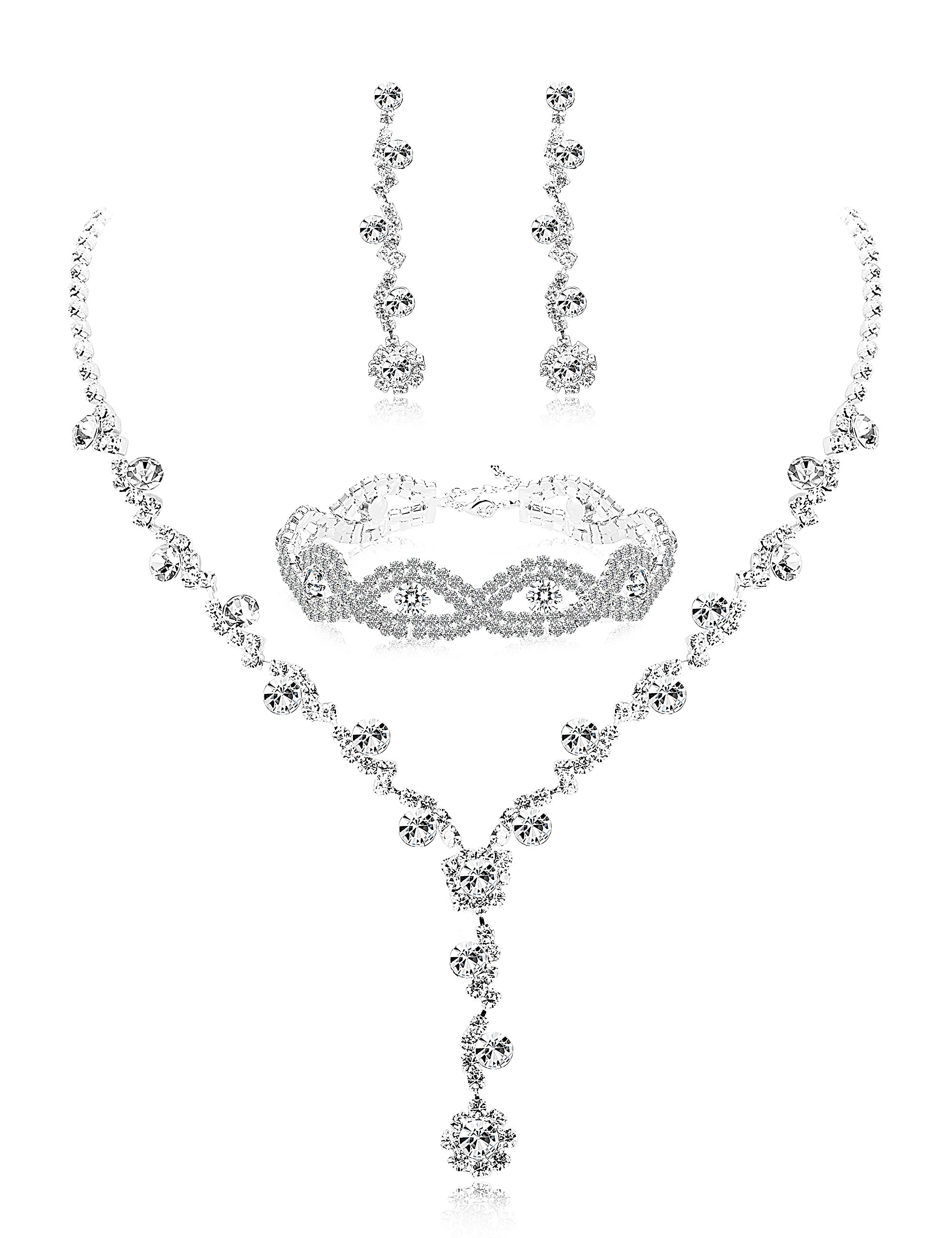 Udalyn Rhinestone Bridesmaid Jewelry Sets for Women Necklace and Earring Set for Wedding with Crystal Bracelet by Udalyn