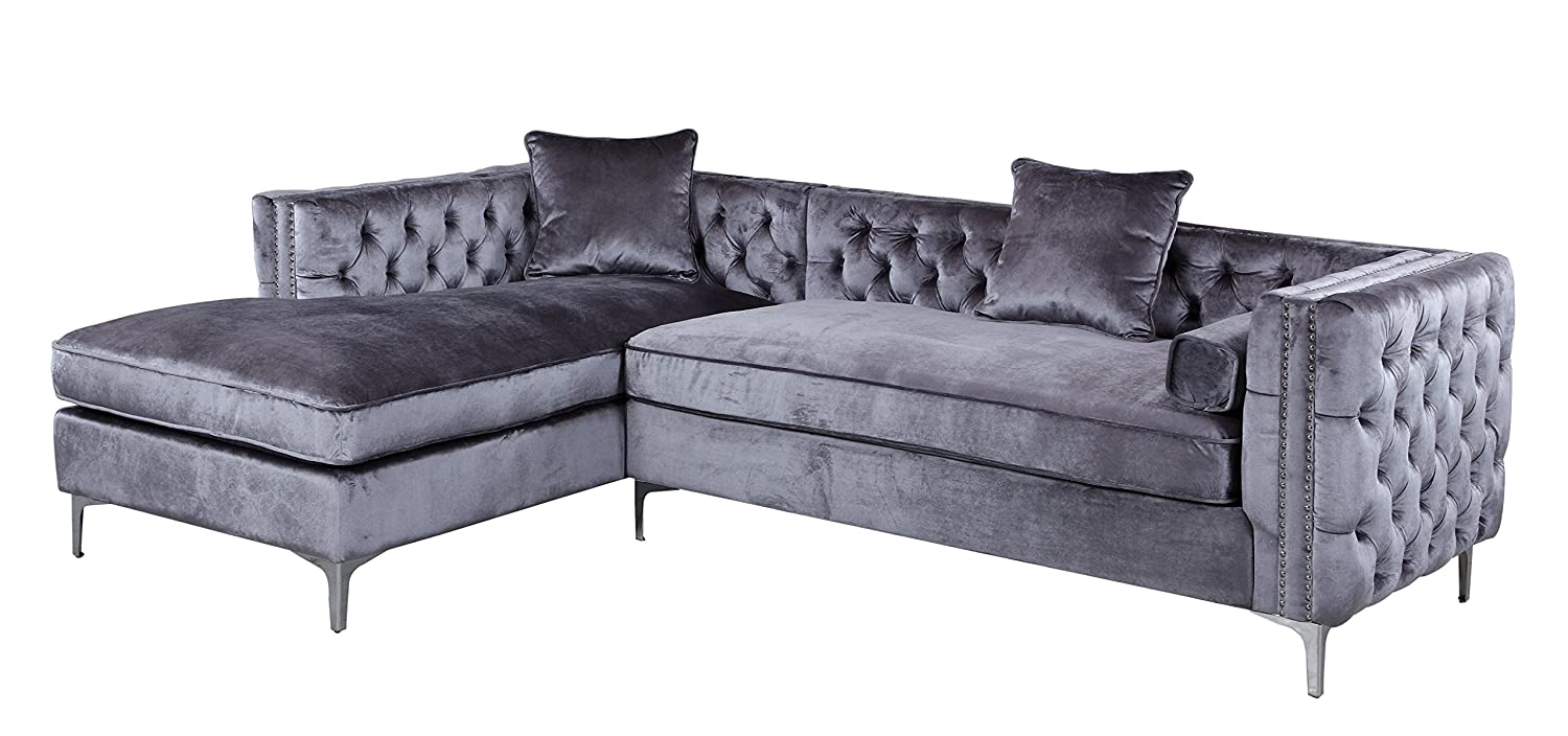 Amazon Iconic Home Da Vinci Tufted Silver Trim Grey Velvet