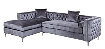 Iconic Home Da Vinci Tufted Silver Trim Grey Velvet Left Facing Sectional  Sofa With Silver Tone