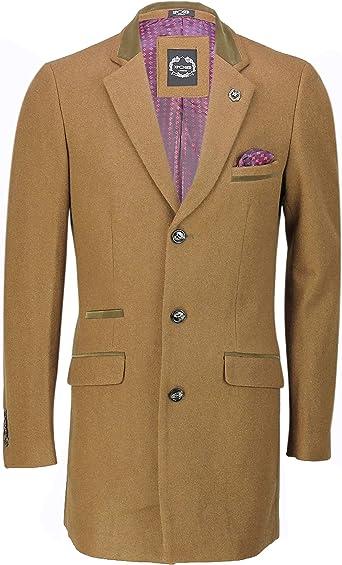 Xposed Chaqueta para hombre, estilo retro 3/4, mezcla de lana, para invierno, ideal para hombre