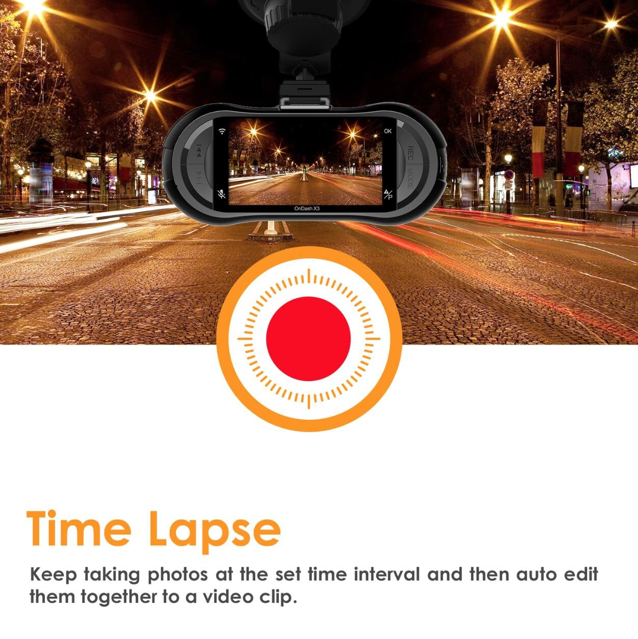 Vantrue X3 WIFI Dash Cam, Super HD 2.5K Car Dashboard Camera 1440P Car Camera with Ambarella A12 Chipset, 170°Wide Angle, Super HDR Night Vision, Loop Recording, Parking Mode, Motion Detection by VANTRUE (Image #5)