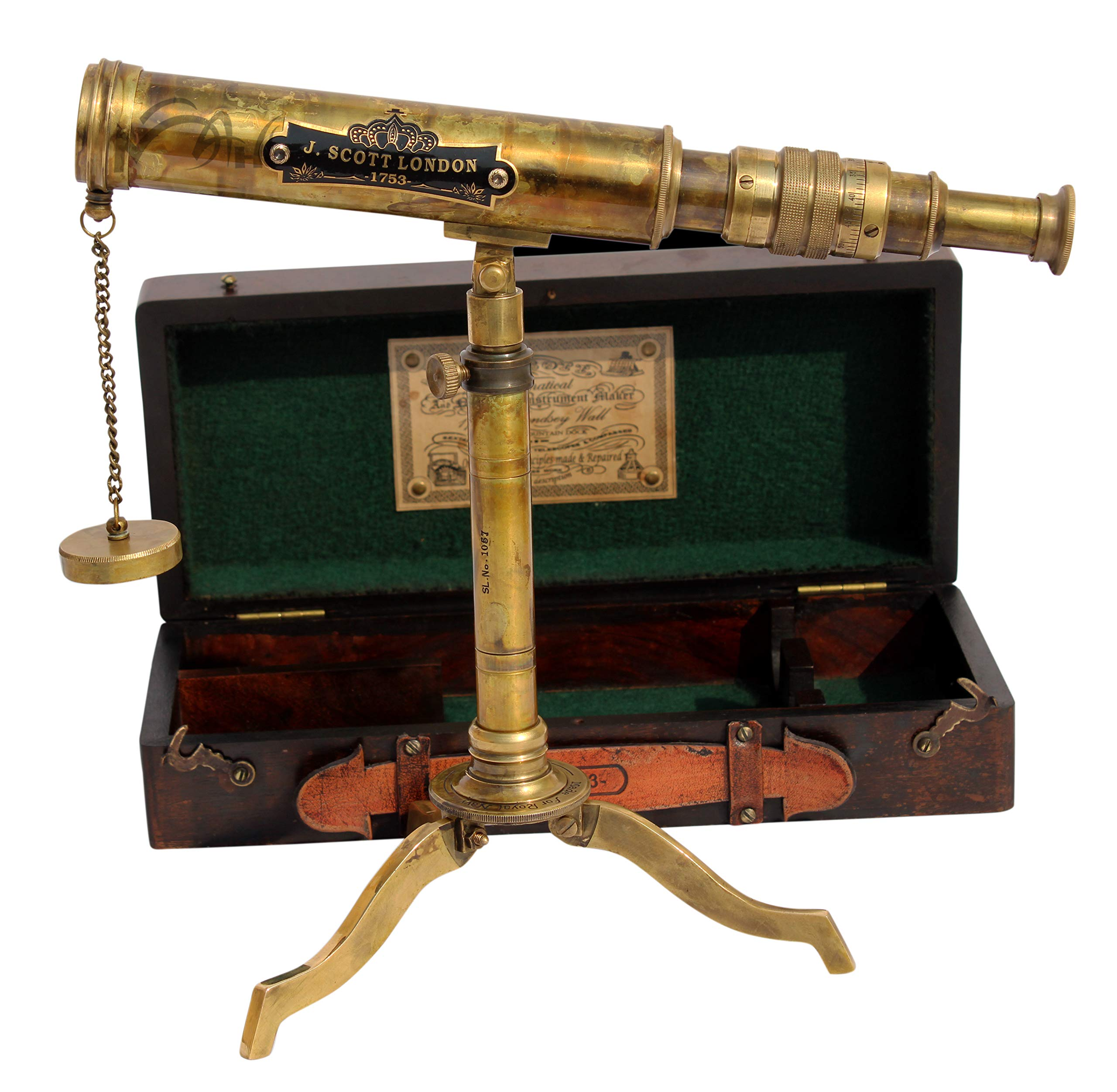 MAH 11inch Vintage Style Marine Spyglass Brass Stand Telescope with Wooden Box. C-3201