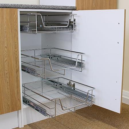 Tiroirs coulissants /à syst/ème de fermeture amortie 3 Paniers Coulissants pour Placard ou Cabinet de Cuisine de 60cm KuKoo