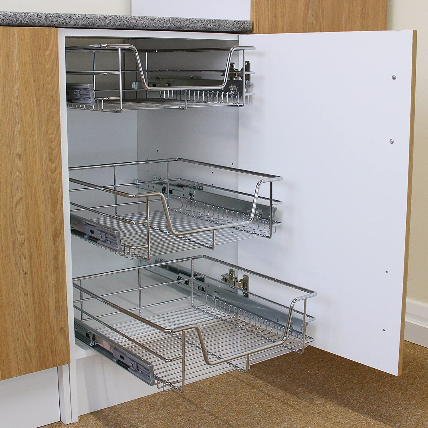 KuKoo 2 x Kitchen Pull Out Soft Close Baskets, 500mm Wide Cabinet, Slide Out Wire Storage Drawers MonsterShop