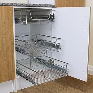 Kukoo - 3 Cestos Extraíbles para Mueble de Cocina de 50cm de Ancho con Guías Telescópicas de Cojinetes de Bolas 42,5cm x 39,7cm x 14cm: Amazon.es: Hogar