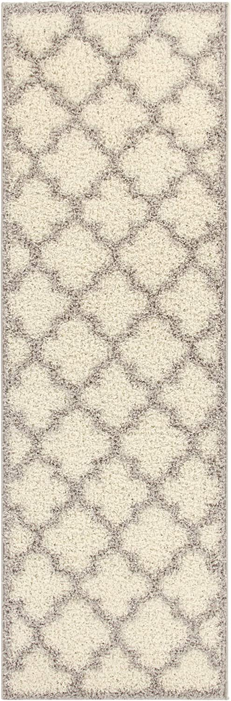 Superior Bengali Trellis Collection Soft Shag Runner Rug 2.6' x 8' - Kitchen, Entryway, Hallway - Grey