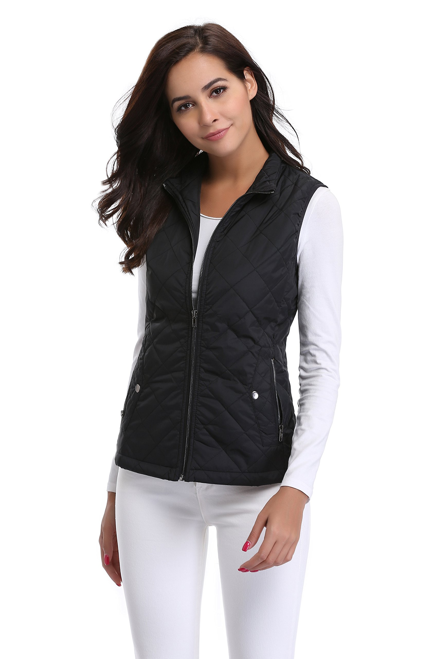 MISS MOLY Women Lightweight Quilted Padded Vest Stand Collar Zip Up Front Gilet Quilted,Black,Medium