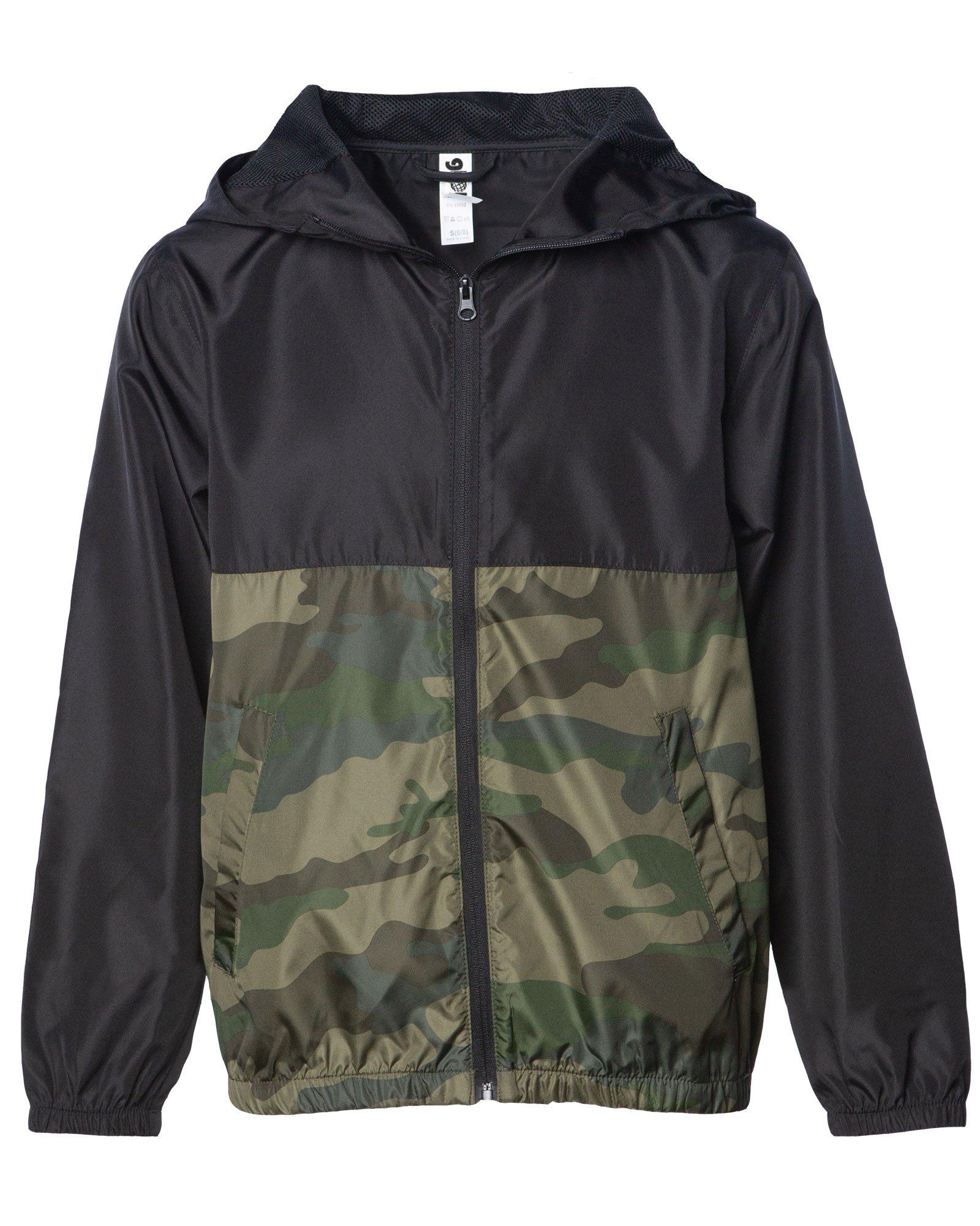 Global Kid's Hooded Lightweight Windbreaker Rain Jacket Water Resistant Shell (Medium, Black/Camo)