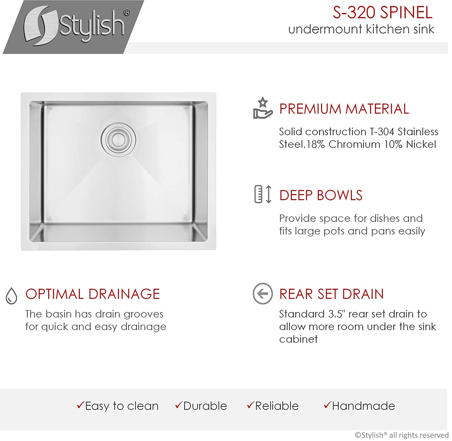 Dualmount 22 Inch Drop-in or Undermount Single Bowl Laundry Sink by Stylish 10mm Radius Corners 18 Gauge Stainless Steel Premium Strainer S-320T