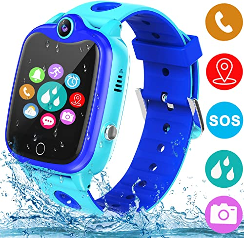 Smart Watch for Kids with GPS Tracker, Kids Waterproof Smartwatch Phone with Games Touch Screen SOS Call Voice Chatting Holiday Birthday Gift for Boys Girls Aged 4-12 Year Old Blue