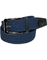 CTM Men's Elastic Braided Stretch Belt with Silver Buckle
