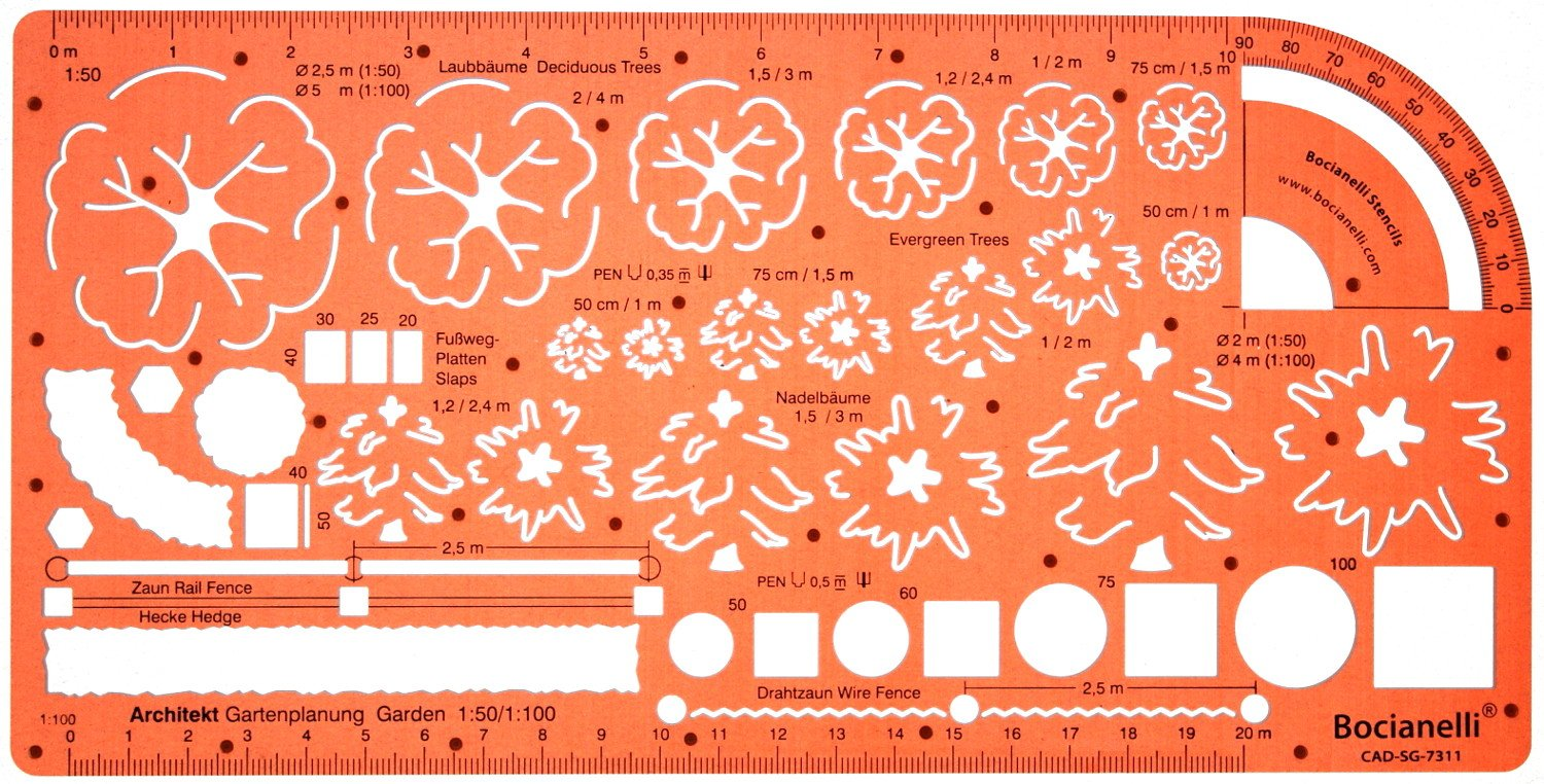 1:50 And 1:100 Scale Landscape Design Stencil Architectural Planning  Symbols Garden Plants Architect Drawing Template: Amazon.co.uk: Office  Products