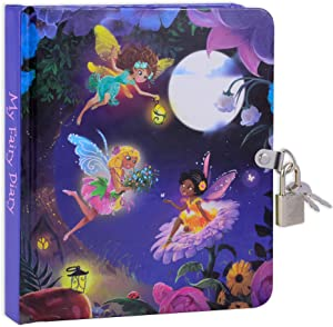 """MOLLYBEE KIDS Fairy Glow in The Dark 6.25"""" Lock and Key Diary for Girls, 208 Lined Pages"""