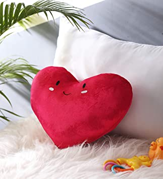 Oscar Home Shaped Pillow Heart Shape With Embroidered Face Pillow Soft Toy - Dimension: 15x13 Inches Round Plush Pillow Toy - Stuffed Pillow Material: Soft Plush Fabric, Poly-fiber Filling Cushion-Red