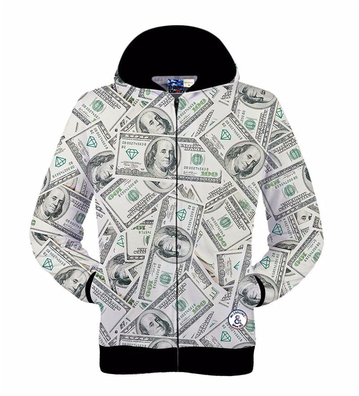 zipper jacket for men//women hoody 3d sweatshirt print money dollars hooded hoodies autumn tops