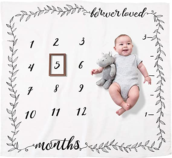 Syuantech Baby Moon Monthly Milestone Blanket for Girl Boy Newborn Costume Photography Backdrop Swaddle Baby Monthly Blanket Shower Gifts Rainbow