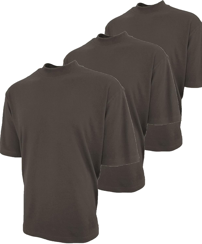モックタートルネックシャツ100 %コットン半袖加工3 - Pack B076Z5QY2F  Gray Earth XL