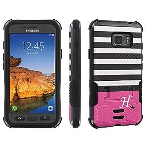 Galaxy Active S7 [AT&T] Tough Case [Skinguardz] [Black/Black] ShockProof Armor [Kick Stand] - [Black Pink Stripe H Monogram] for Samsung Galaxy [S7 Active]