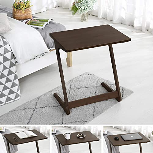 Sofa Table TV Tray, NNEWVANTE Couch Sofa End Table Laptop Desk Bamboo Coffee Table Side Table Snack Tray for Eating Writing Reading Living Room Modern Furniture Large Size 29.53 15.75 Walnut