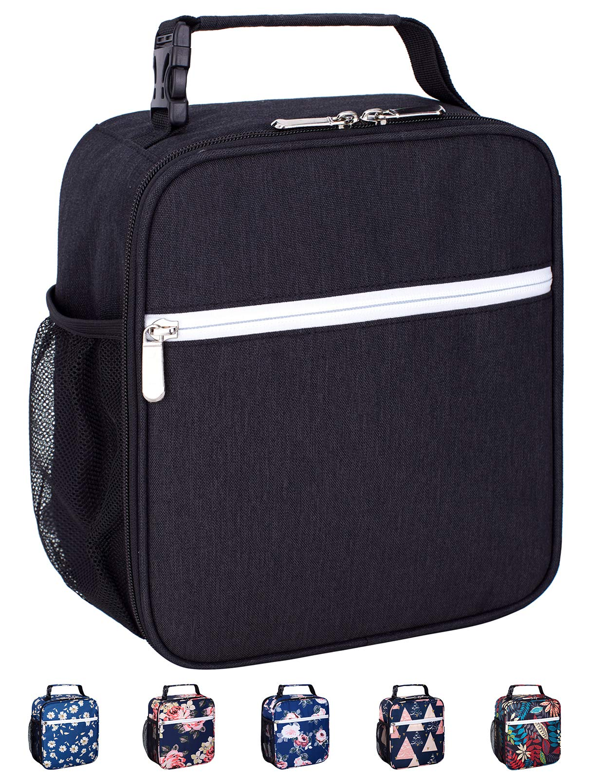 Leakproof Insulated Reusable Cooler Lunch Bag - Durable Compact Office Work School Lunch Box with Multi-Pockets & Detachable Buckle Handle for Women,Men and Kids-Black
