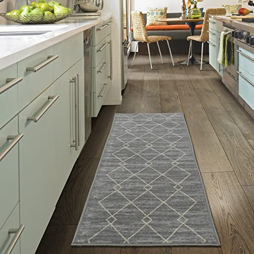 Ottomanson Studio Collection Diamond Trellis Design Runner Rug, 20 X 59 , Grey