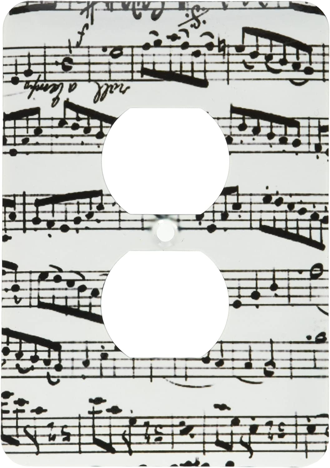 3dRose lsp_179702_6 Music Notes Pattern Black and White Piano Sheet Musical Notation Light Switch Cover