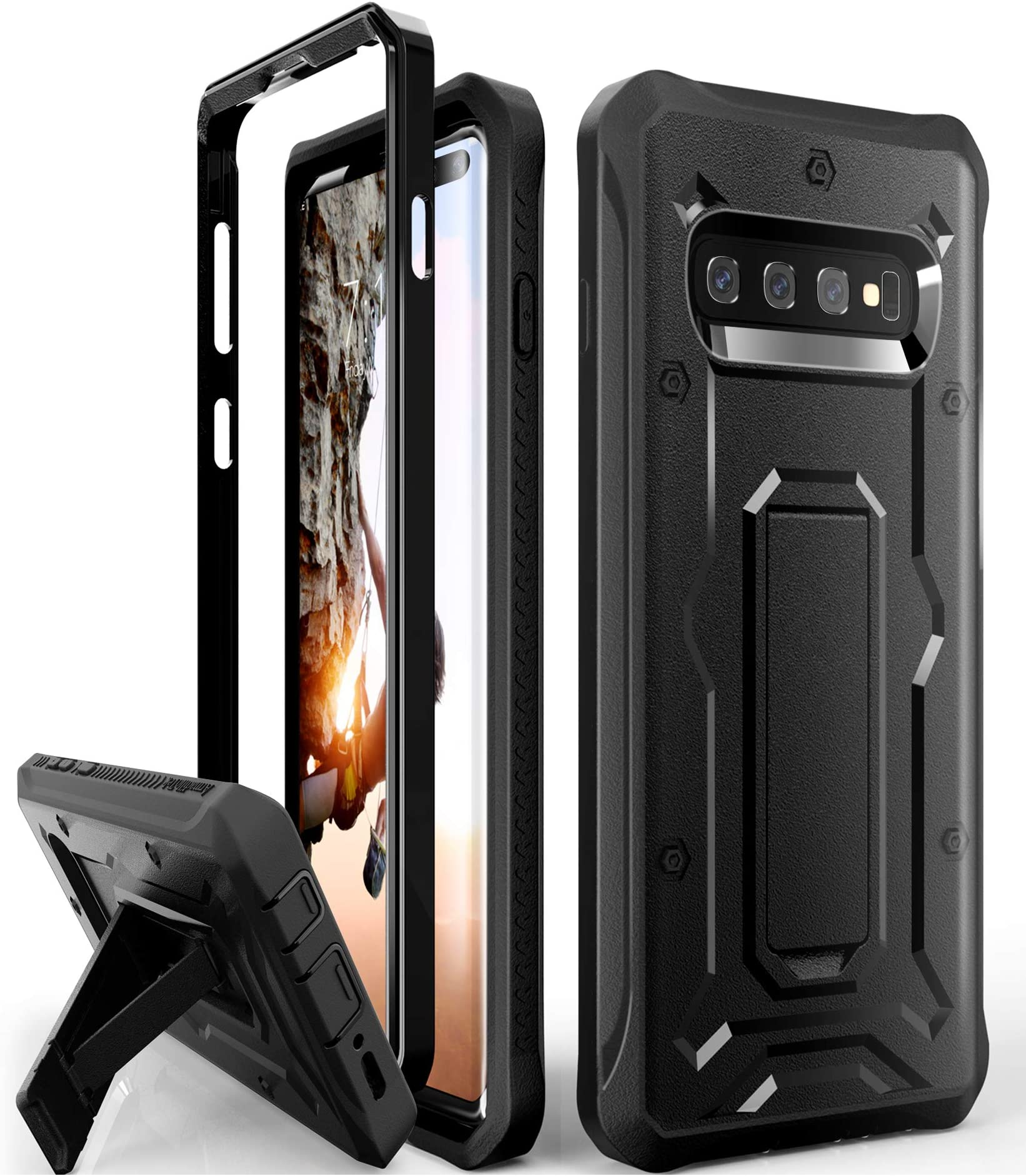 cell phone holsters \u0026 clips amazon comgalaxy s10 plus heavy duty case armadillotek vanguard series military grade rugged case with kickstand