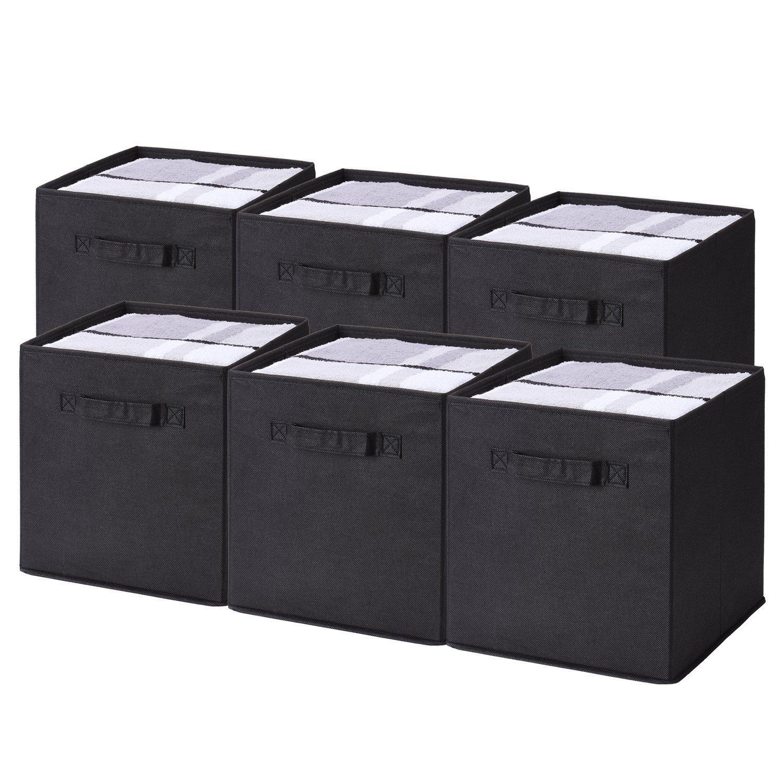 Umi Noir Lot de 6 lorganisation Bo/îtes de Rangement Ouvertes en Textile Non-Tiss/é,bacs de Rangement Pliable avec poign/ées Doubles pour Les tiroirs de p/épini/ère de Garde-Robe