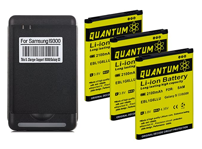 Amazon.com: QUANTUM 3x Baterías 2100mAh + Cargador de Pared ...