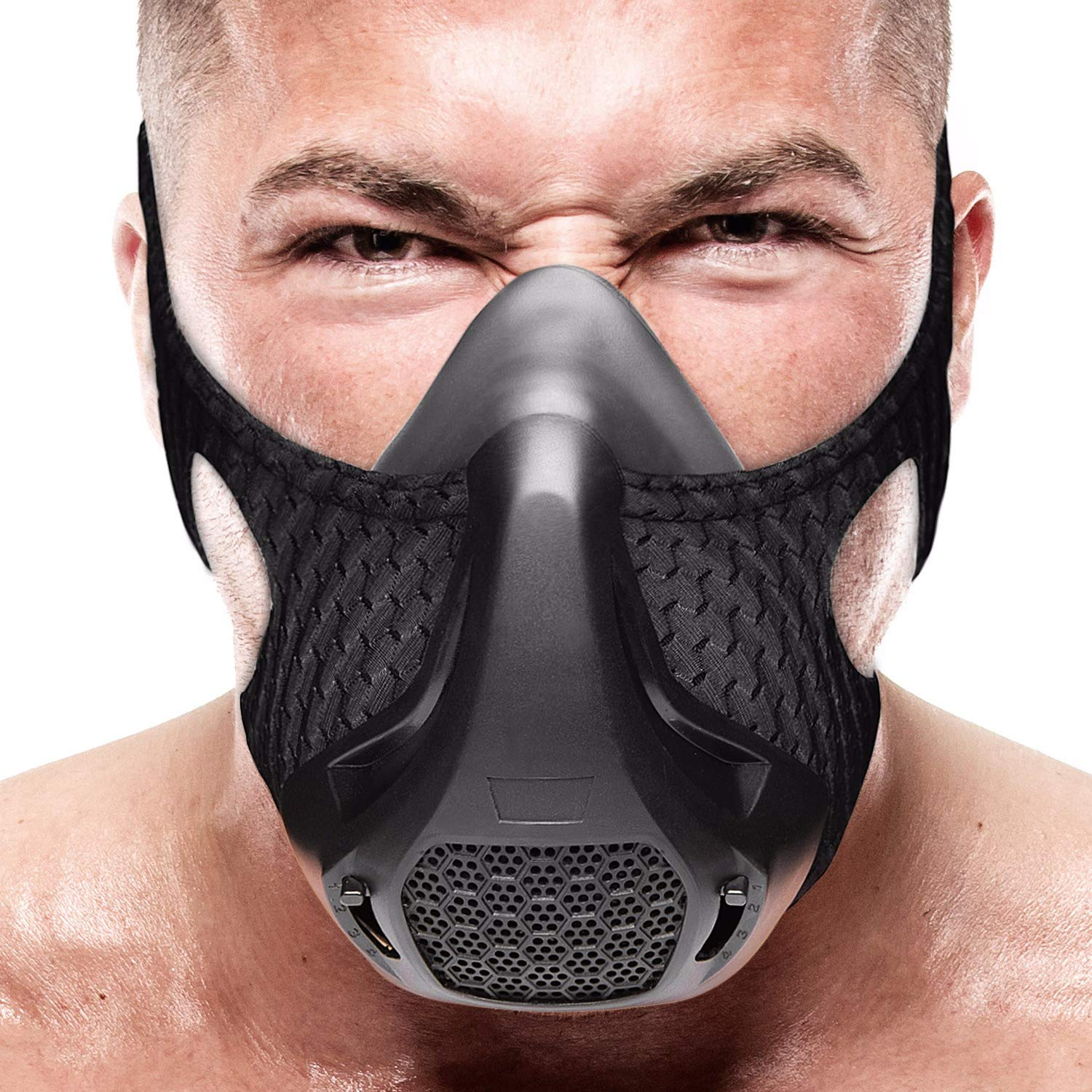 VEOXLINE Training Mask   Sport Workout for Running Biking Fitness Jogging Gym Soccer Cardio Exercise Breathing with Air Level Regulator for Men Women   Imitate Workout at High Altitudes (Black)