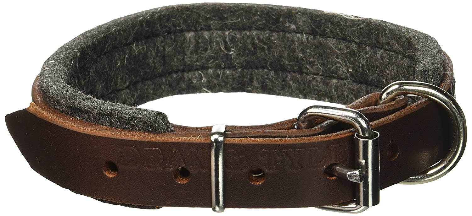 Dean and Tyler DT Delight , Leather Dog Collar with Felt Padding and Strong Hardware Brown Size 18-Inch by 1-Inch Fits Neck 16-Inch to 20-Inch