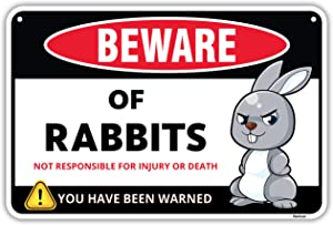Venicor Beware of Rabbits Sign - 8 x 12 Inches - Aluminum - Great Gift for Rabbit Bunny Lovers - Detailed Art - Decorative Stuff Home Room Wall Decor - Funny Cute Danger Warning Metal Crossing Signs