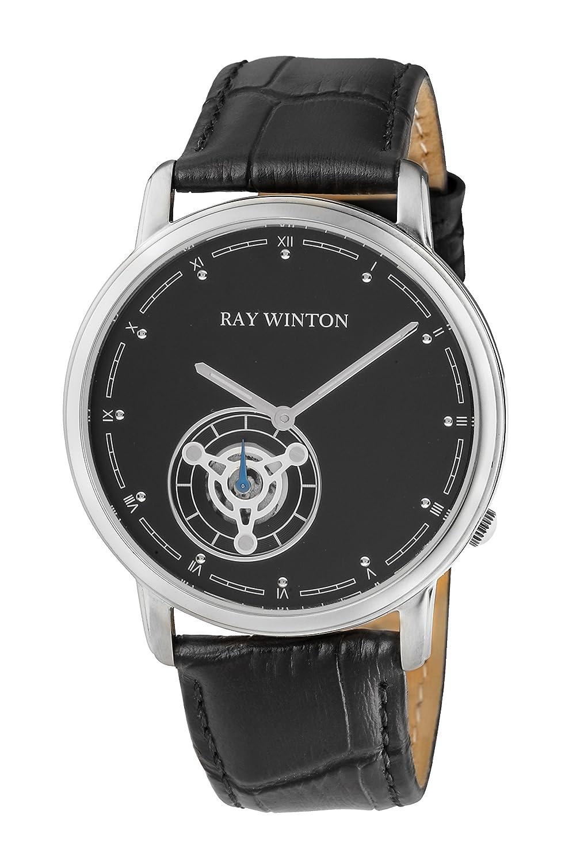 Ray Winton Herren wi0052 Analog schwarz Zifferblatt schwarz echtes Leder Armbanduhr