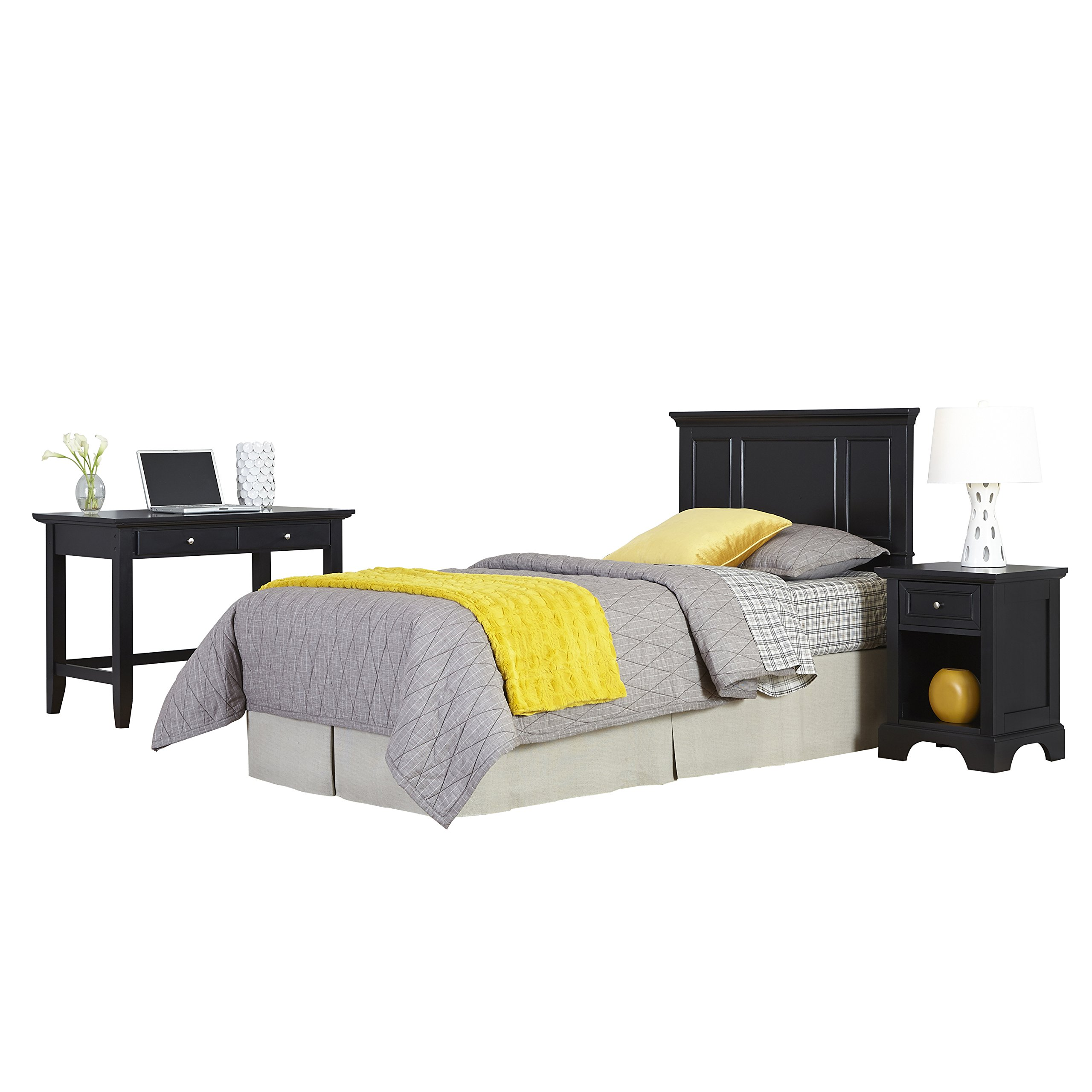 Home Styles 5531-4025 Bedford Twin Headboard, Night Stand and Student Desk, Black
