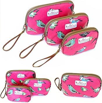 Pack de 3. Neceser estampado Animalitos, impermeable, 3 tamaños en varios colores a elegir, base rígida (Fucsia (Pajaritos)): Amazon.es: Equipaje