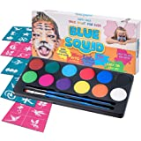 Blue Squid Face Paint Party Pack | 12 Color, Stencils, 2 Brushes | Best Value Quality Party Pack for Kids | Vibrant Water Based Painting Set Non-Toxic FDA Approved (Value Party Pack)