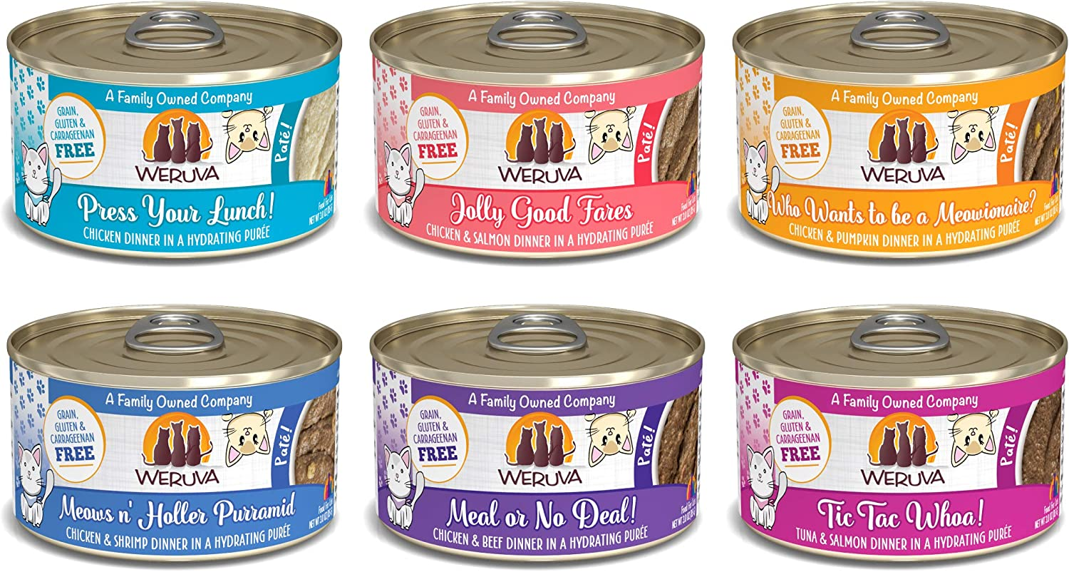 Weruva Classic Cat Patés! Grain-Free Natural Wet Pate Canned Cat Food Variety Sampler Pack (3 oz, Pack of 24 cans)
