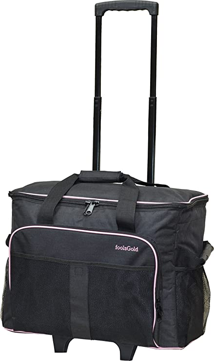 foolsGold Pro Thick Padded Sewing Machine Trolley Bag Carry Case on Wheels  - Charcoal Pink  Amazon.co.uk  Kitchen   Home 669df3f96d0a0
