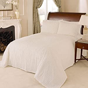 Beatrice Home Fashions Channel Chenille Bedspread, Twin, Ivory
