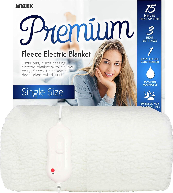 Manta eléctrica Mylek de tamaño individual – 203 x 107 cm – Forro polar premium totalmente ajustable para colchón / debajo de la manta con falda elástica – lavable a máquina y