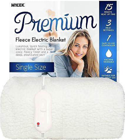 MYLEK Manta eléctrica individual – forro polar premium – totalmente ajustable lavable una sola funda de