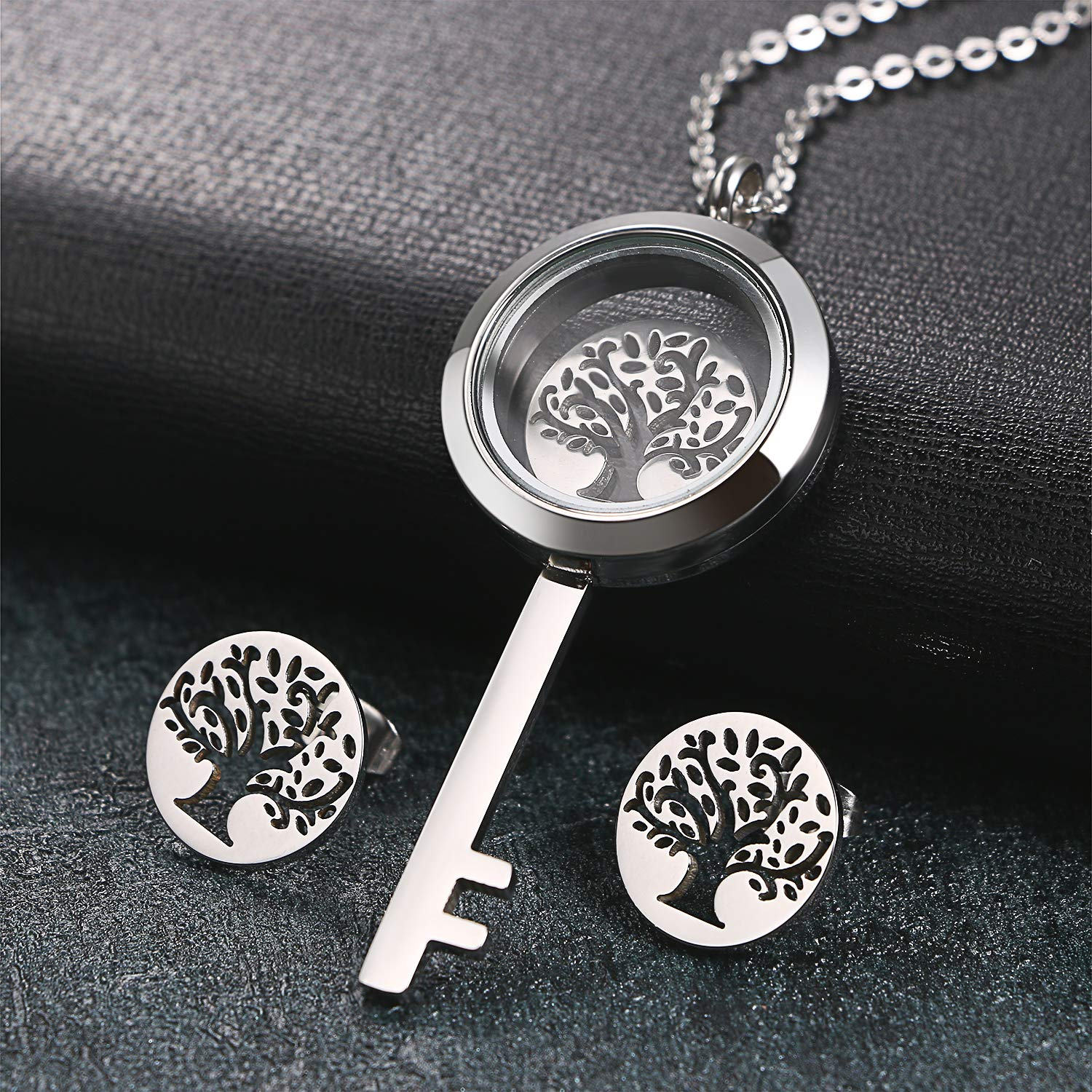 Aroncent Stainless Tree of Life Necklace Earrings Set Steel Chain Pendant Earrings Studs Jewelry