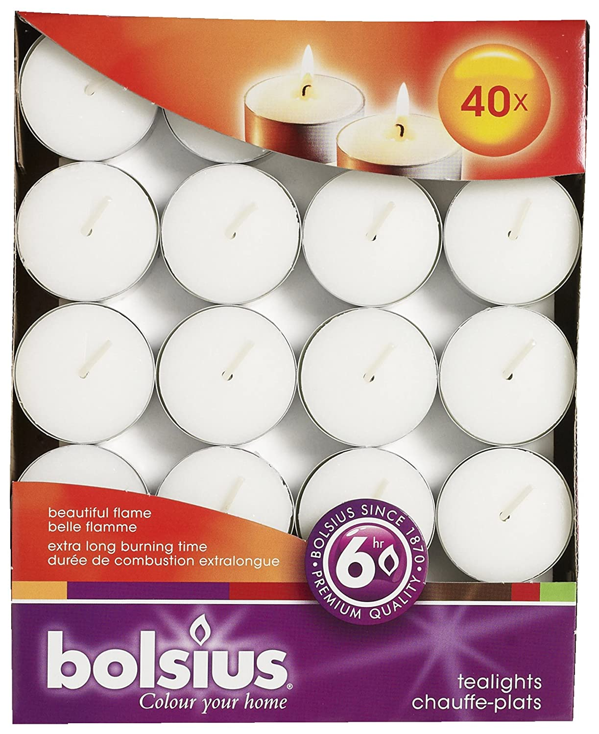 Bolsius Outdoor/Indoor Tealights 6 Hour 16x38mm (Box of 40) - White Campeggio 103826110397