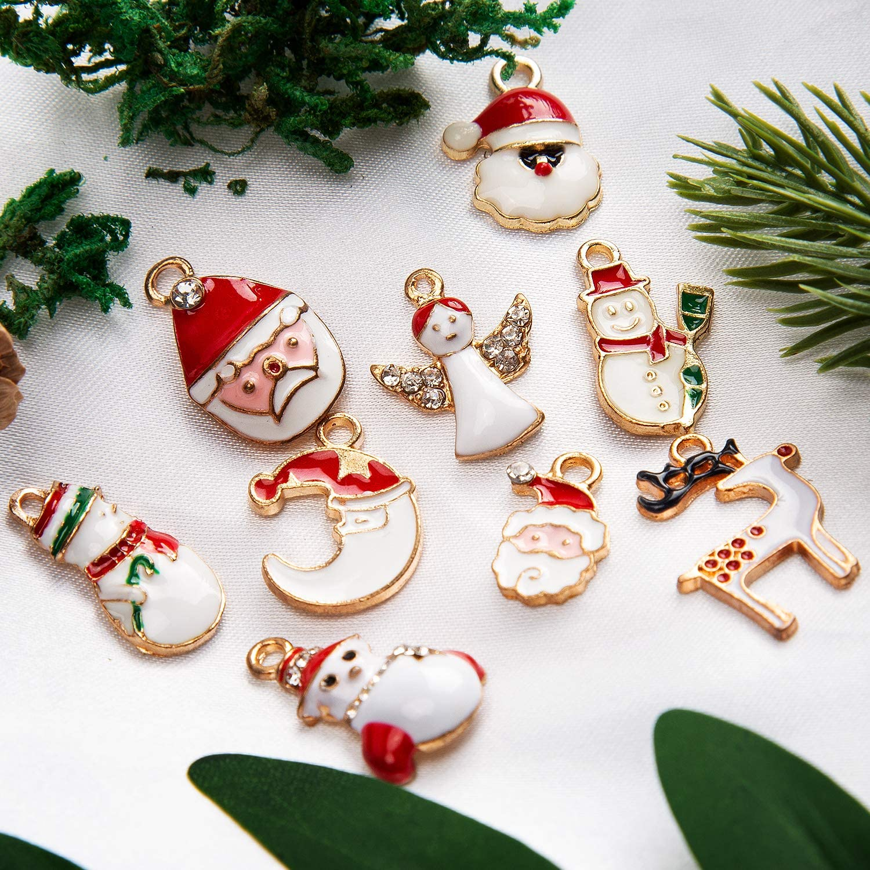 Joyas de Bricolaje Para Pulseras Aretes Para Joyer/ía SAVITA 38 Piezas Colgantes de Navidad de Accesorios de Vestir Decoraciones de Navidad Colgantes Para Parejass