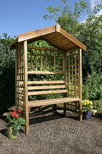 Pérgola de madera enrejado jardín Arbour asiento banco de muebles arco fixthedrip (ref, su): Amazon.es: Jardín