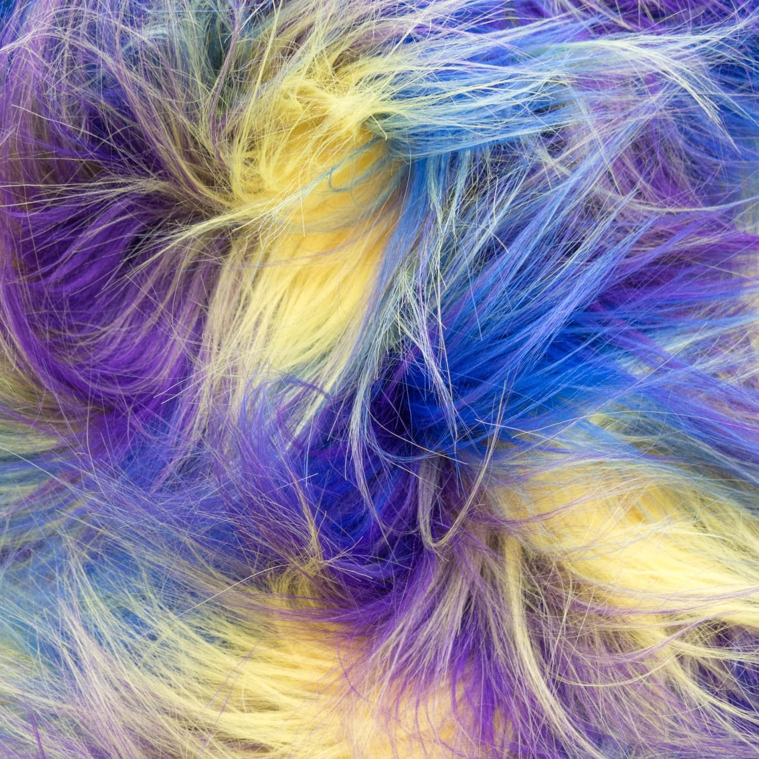 Blue Purple Yellow Faux Fake Fur Versicolor Jumble 62 Inch Wide Fabric by The Yard F.E.